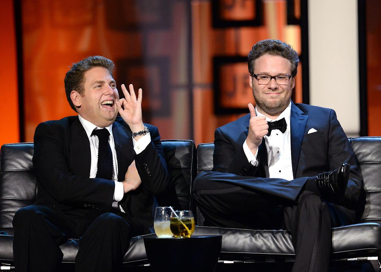 CULVER CITY, CA - AUGUST 25: Actor Jonah Hill (L) and roast master Seth Rogen onstage during The Comedy Central Roast of James Franco at Culver Studios on August 25, 2013 in Culver City, California. The Comedy Central Roast Of James Franco will air on September 2 at 10:00 p.m. ET/PT. (Photo by Jason Merritt/Getty Images for Comedy Central)