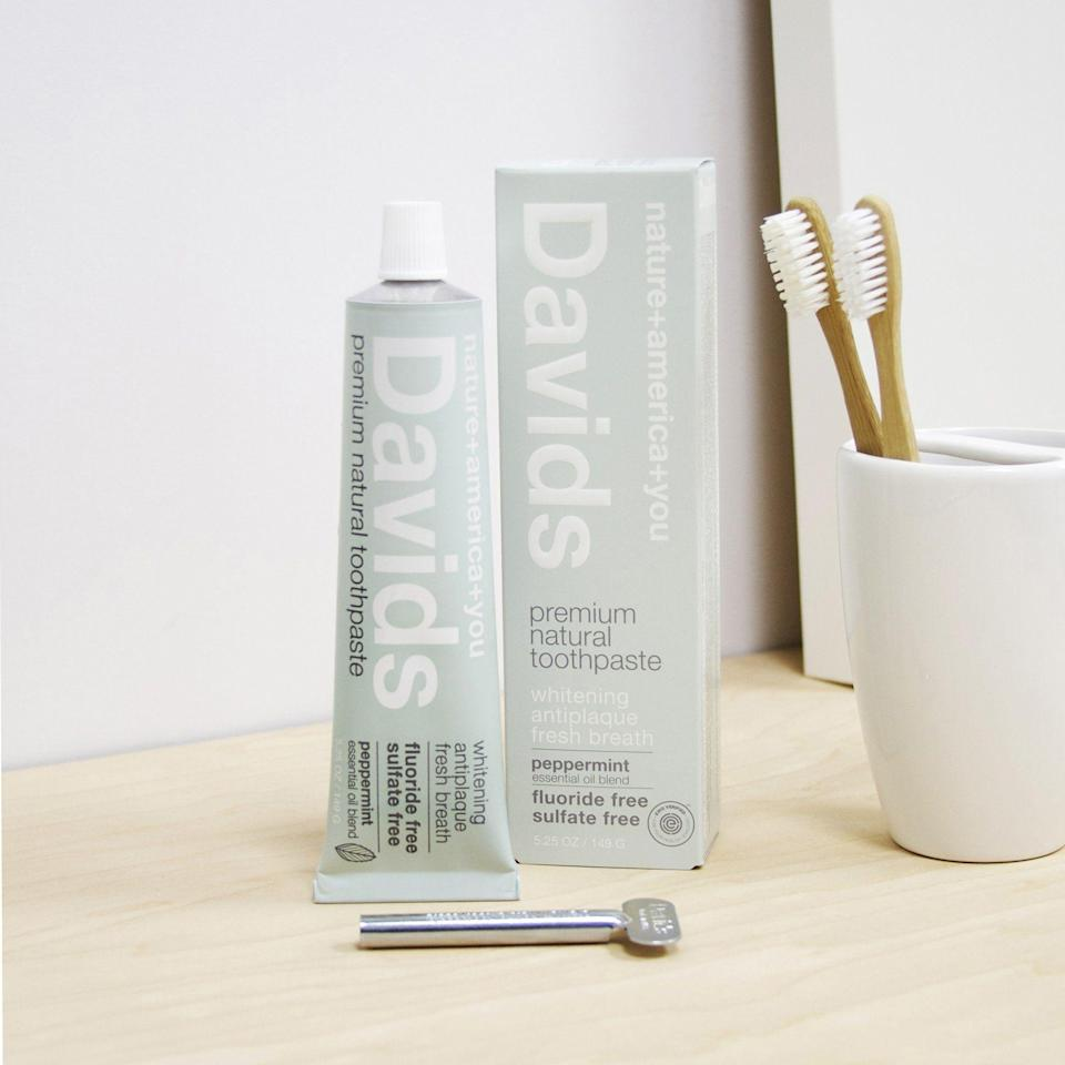 "<p><strong>Davids</strong></p><p>davids-usa.com</p><p><strong>$9.95</strong></p><p><a href=""https://davids-usa.com/products/davids-premium-natural-toothpaste-5-25-oz?variant=767211221"" rel=""nofollow noopener"" target=""_blank"" data-ylk=""slk:SHOP IT"" class=""link rapid-noclick-resp"">SHOP IT</a></p><p>As a good green warrior, I really did try to get behind chewable toothpaste tabs, but I couldn't get over the texture. This David's toothpaste is super natural and makes my mouth feel insanely clean. The metal tube is <a href=""https://davids-usa.com/pages/faq"" rel=""nofollow noopener"" target=""_blank"" data-ylk=""slk:recyclable"" class=""link rapid-noclick-resp"">recyclable</a>—just cut it open, clean it out, and done!</p>"