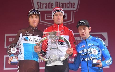<span>Romain Bardet (left) finished second to&nbsp;Tiesj Benoot (centre) at last year's&nbsp;Strade Bianche while cyclo-cross sensation Wout Van Aert took the third step following one of the races of the season</span> <span>Credit: Getty Images </span>