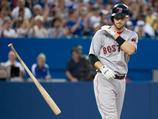Boston Red Sox shortstop Stephen Drew throws his bat after striking out against the Toronto Blue Jays during the sixth inning of a baseball game, Tuesday, July 22, 2014 in Toronto. (AP Photo/The Canadian Press, Nathan Denette)
