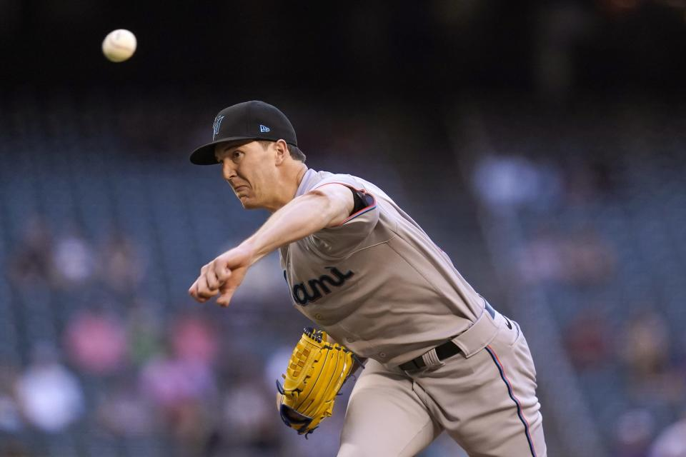 Miami Marlins starting pitcher Trevor Rogers throws against the Arizona Diamondbacks during the first inning of a baseball game Thursday, May 13, 2021, in Phoenix. (AP Photo/Ross D. Franklin)
