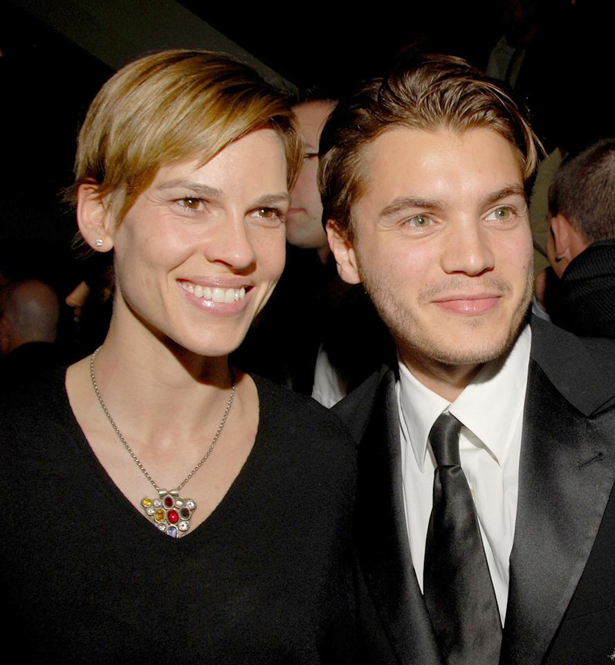 """<a href=""""http://movies.yahoo.com/movie/contributor/1800020739"""">Hilary Swank</a> and <a href=""""http://movies.yahoo.com/movie/contributor/1804492088"""">Emile Hirsch</a> at the after party for the Los Angeles premiere of <a href=""""http://movies.yahoo.com/movie/1810041985/info"""">Milk</a> - 11/13/2008"""