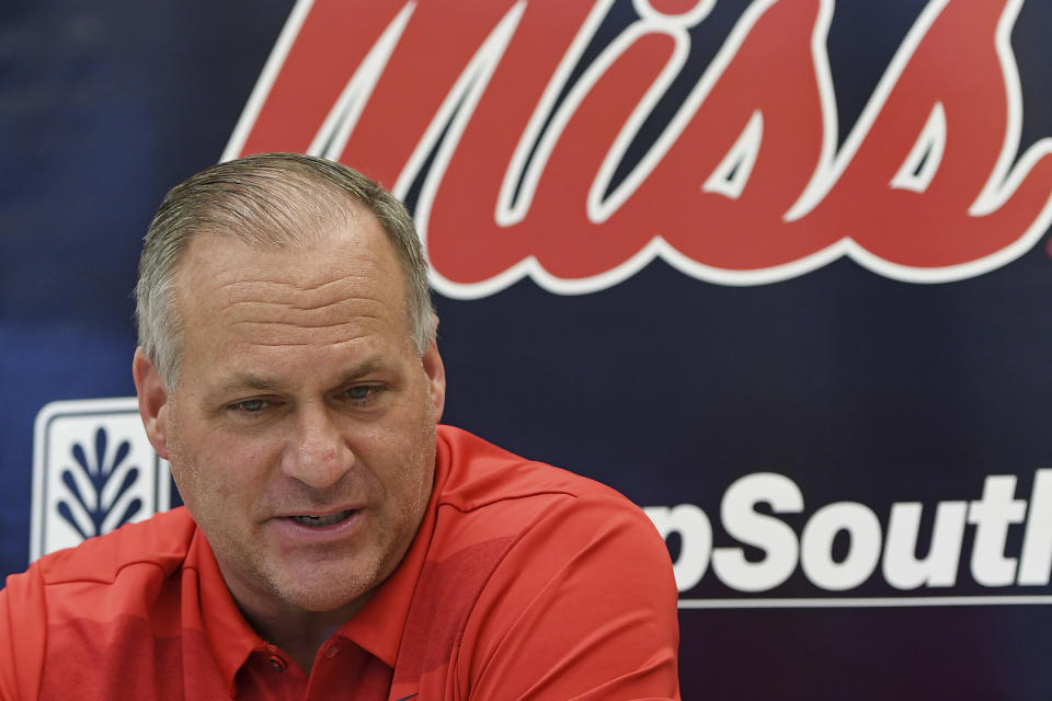 Rich Rodriguez talks during Mississippi's Media Day.