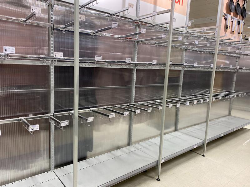 Kmart's shelves have largely remained empty since this photo was taken of the Ashfield store back in June. Photo: Gillian Wolski (supplied).