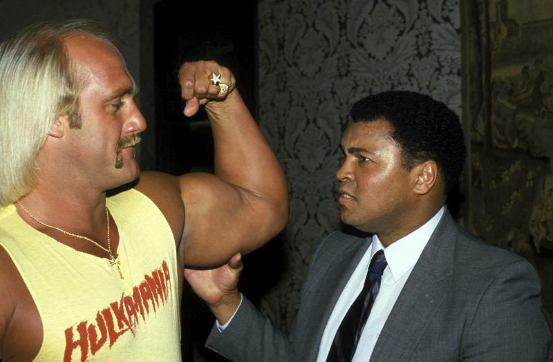 Muhammad Ali and Hulk Hogan in 1985 Credit: 347447Globe Photos/MediaPunch /IPX