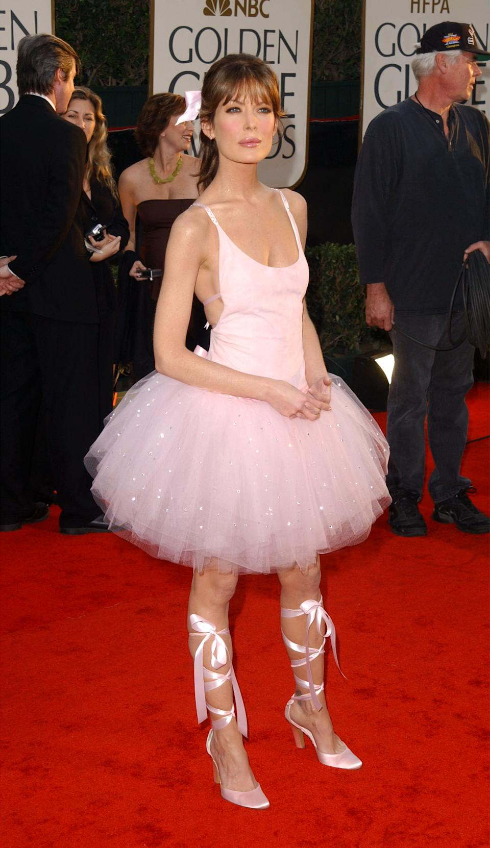 <p>This one is quite possibly the most historically atrocious Golden Globes dress of all time. Is it a children's ballerina Halloween costume? Because it may as well have been. Who signed off on this? We just want to talk. (Image via Getty Images)</p>