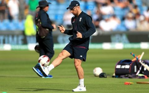 Jack Leach show off his football skills - Credit: pa