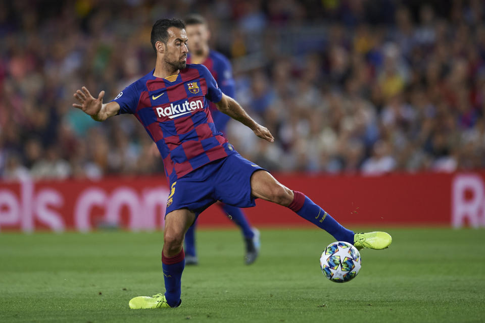 Sergio Busquets of Barcelona in action during the UEFA Champions League group F match between FC Barcelona and Inter at Camp Nou on October 2, 2019 in Barcelona, Spain. (Photo by Jose Breton/Pics Action/NurPhoto via Getty Images)