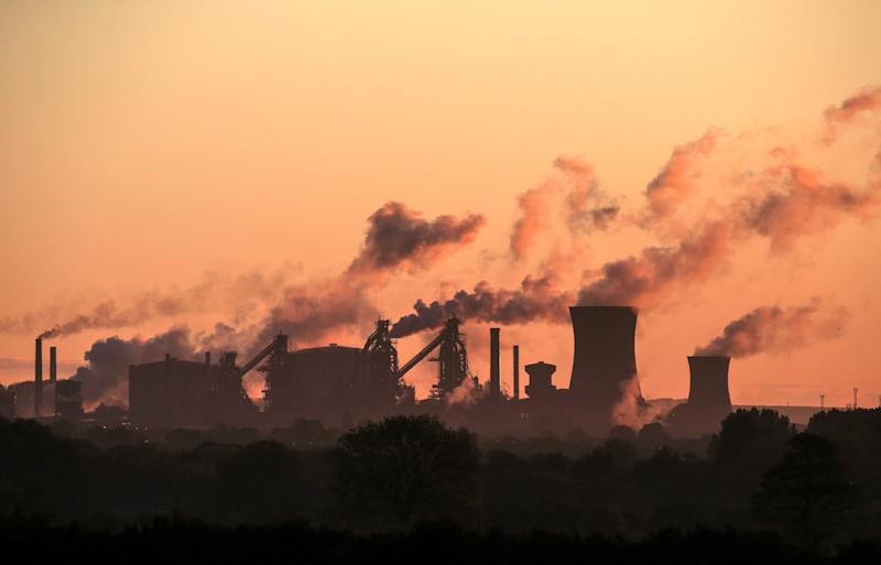 British Steel's Scunthorpe plant is pictured at dawn in north Lincolnshire, north east England on May 22, 2019. - A collapse of British Steel, Britain's second biggest steelmaker, would spark the loss of up to 5,000 jobs at the group's sprawling steelworks in Scunthorpe, northern England. (Photo by Lindsey Parnaby / AFP) (Photo credit should read LINDSEY PARNABY/AFP via Getty Images)