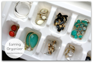 """<p>Perhaps you won't use this for your fanciest jewelry, but a humble ice tray keeps earrings neatly contained and together.</p><p><a href=""""http://yesterdayontuesday.com/2014/03/7-smart-dollar-store-organizing-solutions/"""" rel=""""nofollow noopener"""" target=""""_blank"""" data-ylk=""""slk:See more at Yesterday On Tuesday »"""" class=""""link rapid-noclick-resp""""><em>See more at Yesterday On Tuesday »</em></a></p>"""