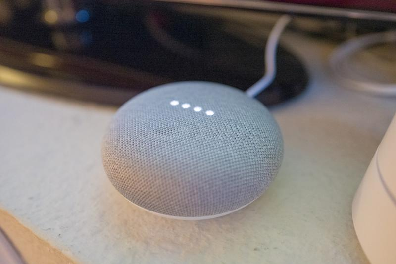 Close-up of Google Home Mini smart speaker with lights illuminated in a smart home in San Ramon, California, March 26, 2019. (Photo by Smith Collection/Gado/Getty Images)