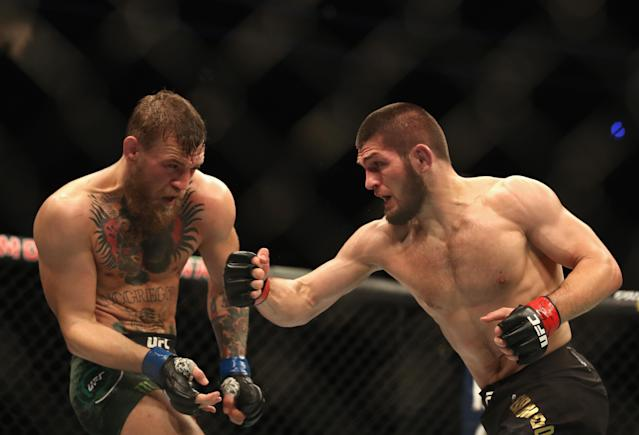 Khabib Nurmagomedov doesn't have any interest in a rematch with Conor McGregor — at least, not yet. (Christian Petersen/Getty Images)