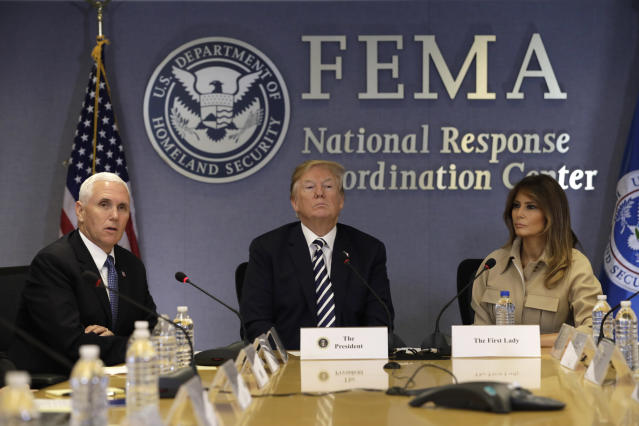 Melania Trump attended a FEMA meeting with President Trump and Vice President Mike Pence. (Photo: Getty Images)