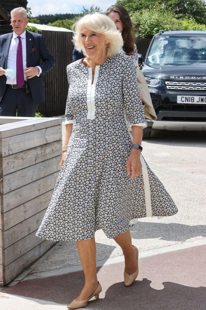 <p>The Duchess of Cornwall picked a black and white floral dress with three-quarter length sleeves on a trip to Wales. </p>