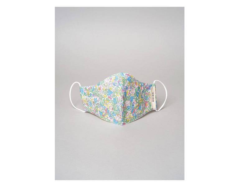 Aeibe have designed its masks using vibrant fabrics from Liberty of London with built-in filtersAeibe
