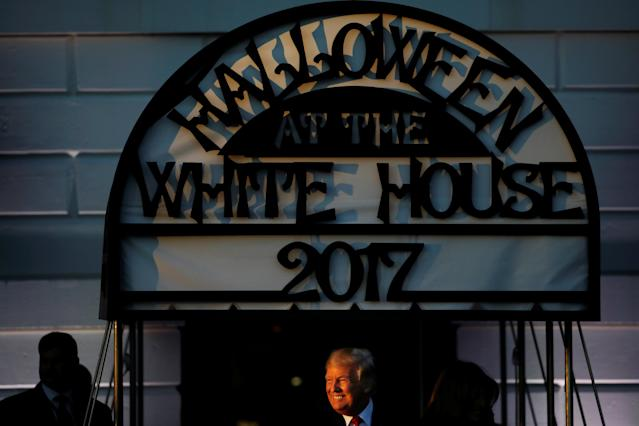 <p>U.S. President Donald Trump attends a Halloween event at the South Portico of the White House in Washington, D.C. on Oct. 30, 2017. (Photo: Carlos Barria/Reuters) </p>