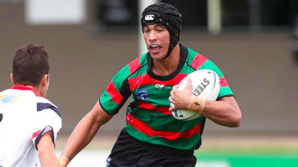 Pictured here, Joseph Suaalii in action for the South Sydney Rabbitohs juniors.