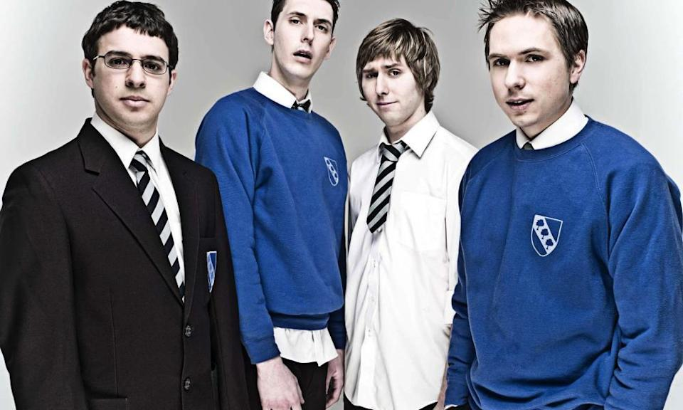 Simon Bird, Blake Harrison, James Buckley and Joe Thomas in the Inbetweeners in 2008.