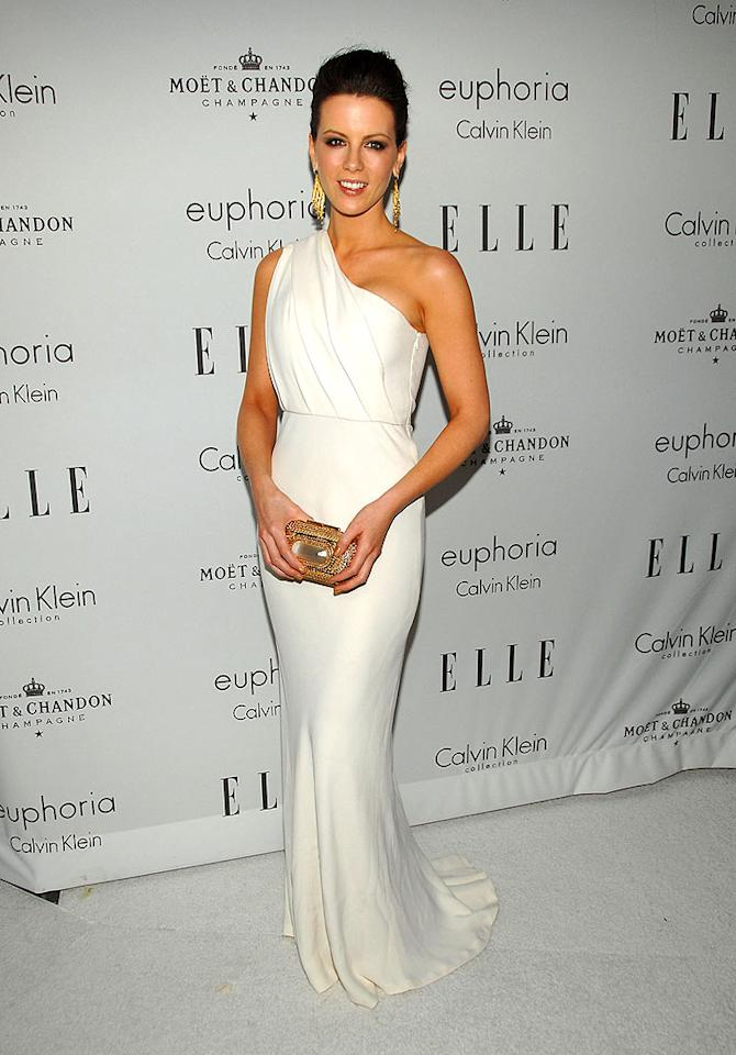 "Kate Beckinsale looks divine in her goddess dress and gold accessories. John Shearer/<a href=""http://www.wireimage.com"" target=""new"">WireImage.com</a> - October 6, 2008"