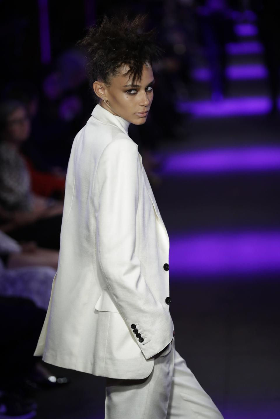 Fashion from the Tom Ford collection is modeled Monday, Sept. 9, 2019, in New York. (AP Photo/Frank Franklin II)