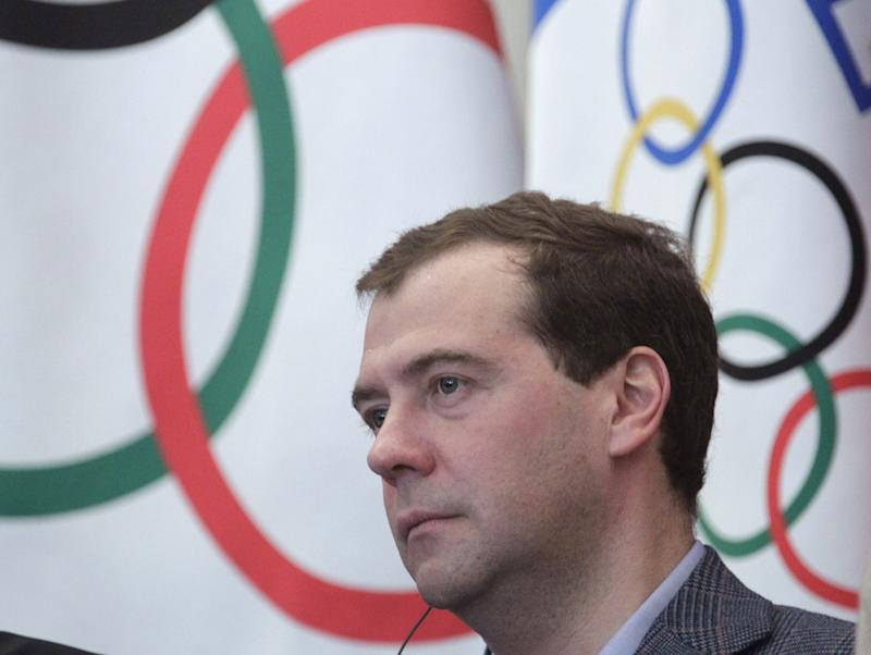 In this Sunday, Feb. 12, 2012 photo  Russian President Dmitry Medvedev takes part in a meeting with the International Olympic Committee delegation in Russian Black Sea resort of Sochi. (AP Photo/RIA Novosti Kremlin, Mikhail Klimentyev, Presidential Press Service)