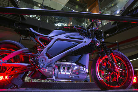"An electric Harley Davidson motorcycle that is part of ""Project Livewire"" stands as part of display in company's store in New York"