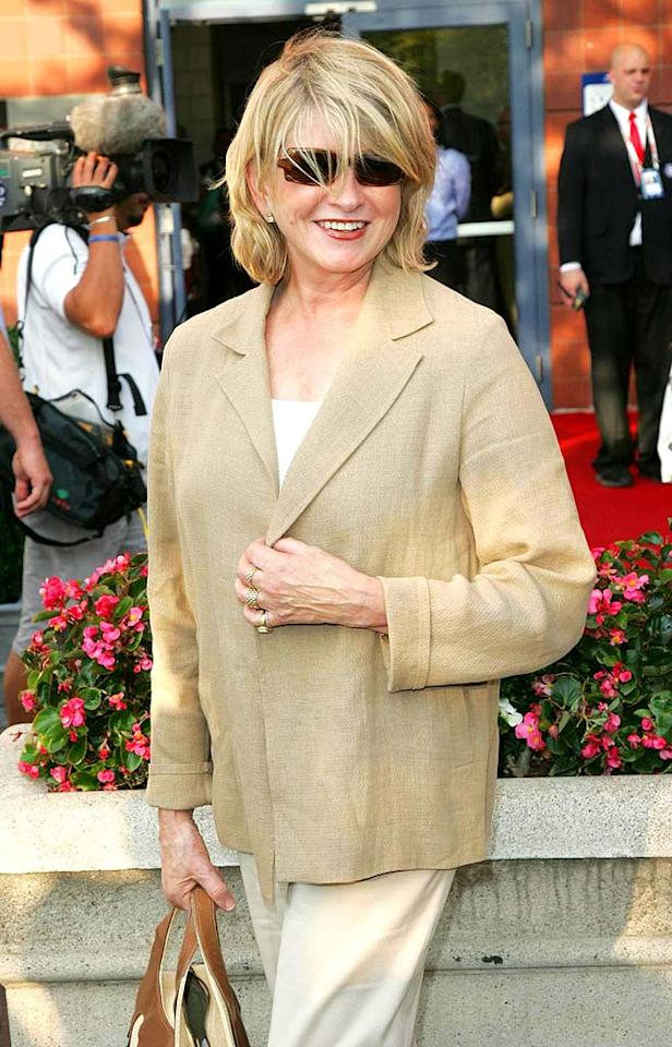 "Domestic diva Martha Stewart sported a simple suit and shades during a day session at the summer's ultimate sporting event. Juan Soliz/<a href=""http://www.pacificcoastnews.com/"" target=""new"">PacificCoastNews.com</a> - August 25, 2008"