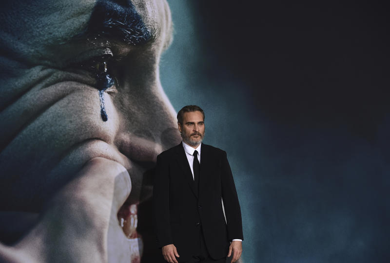 """Joaquin Phoenix arrives at the Los Angeles premiere of his film """"Joker,"""" on Sept. 28, 2019. (Photo by Jordan Strauss/Invision/AP)"""