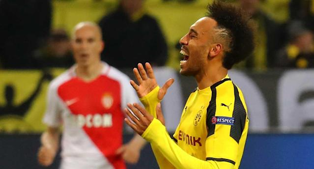 Auba and Dortmund had a frustrating first leg. (Reuters)