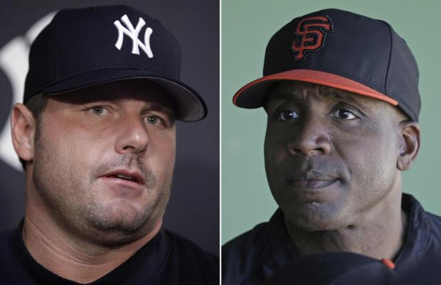 Roger Clemens and Barry Bonds, the two biggest names from baseball's steroid era, didn't move much in Hall of Fame voting this year. (AP)