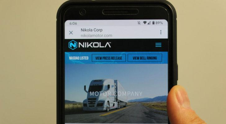 The Nikola (NKLA) website homepage on a cell phone screen.