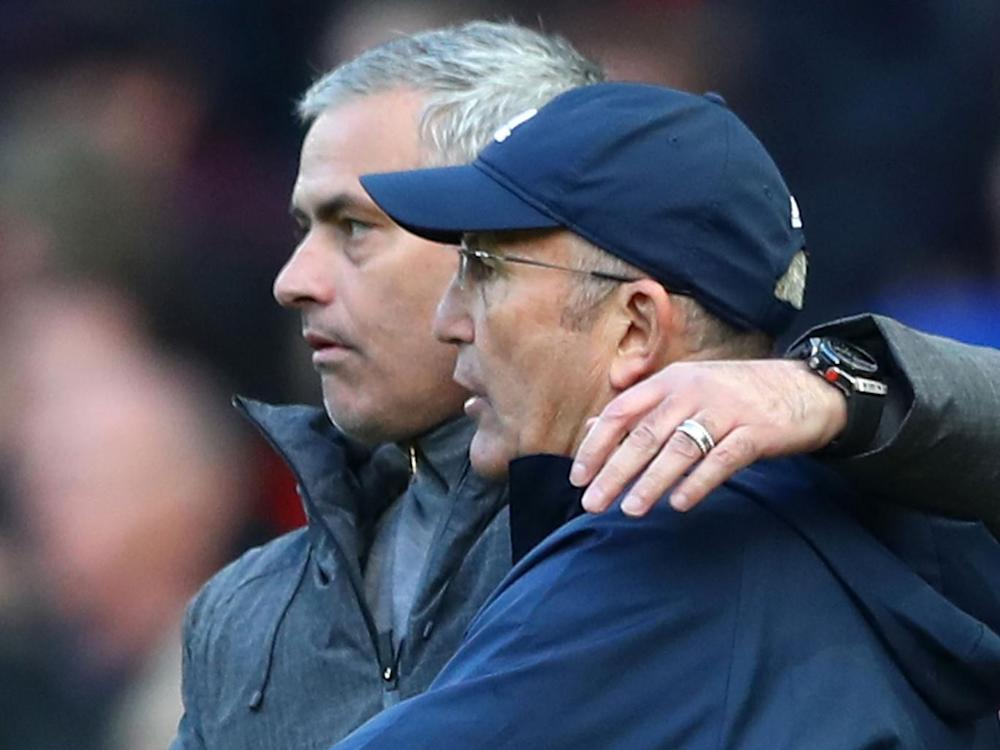 Mourinho embraces West Brom manager Tony Pulis (Getty)
