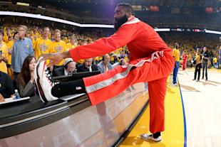 cef40f69bfba James Harden inspects his kicks to make sure everything s above board.