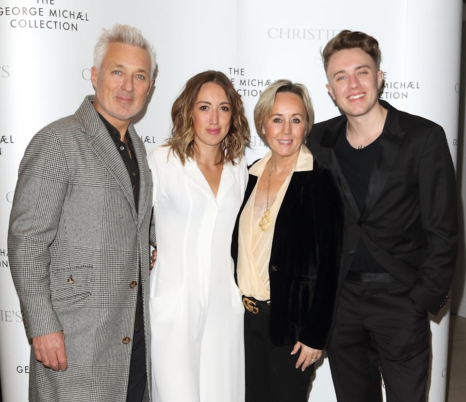 (L to R) Martin Kemp, Harleymoon Kemp, Shirlie Kemp and Roman Kemp at The George Michael Collection - VIP private view and reception at Christies, St James. (Photo by Keith Mayhew / SOPA Images/Sipa USA)