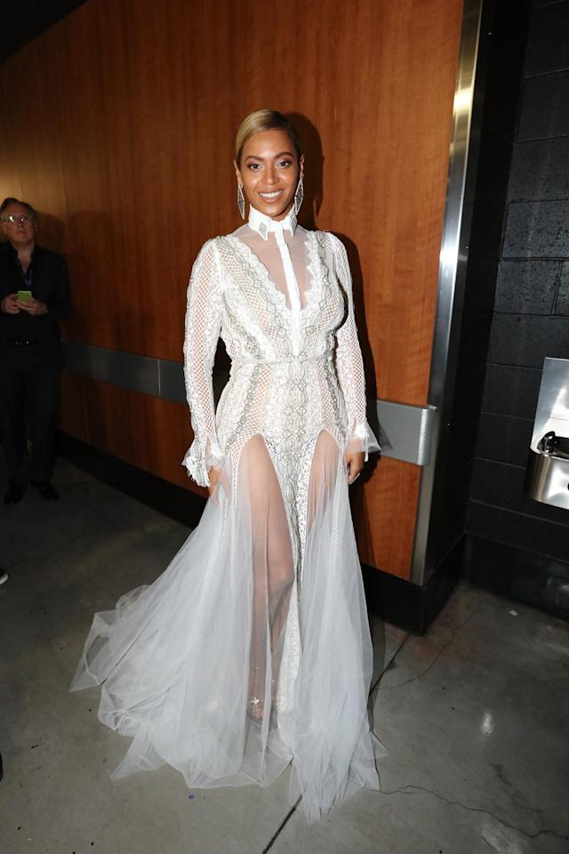 Beyonce wore a wedding dress by Inbal Dror to present an award at the 2016 Grammys. (Photo: Getty Images)