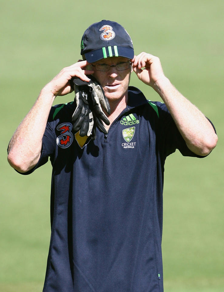 PERTH, AUSTRALIA - JANUARY 14:  Chris Rogers of Australia adjusts his glasses during an Australian cricket training session held at the WACA January 14, 2008 in Perth, Australia.  (Photo by Paul Kane/Getty Images)