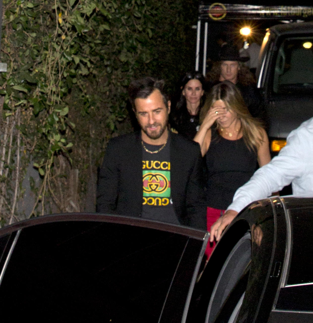 A-List Hollywood actors Jennifer Aniston, Justin Theroux and Courteney Cox were seen leaving from the back door of good friend Jennifer Meyers birthday party at 'Peppermint' Night Club in West Hollywood, CA<P>Pictured: Jennifer Aniston, Justin Theroux, Courteney Cox<B>Ref: SPL1483393  230417  </B><BR/>Picture by: SPW / Splash News<BR/></P><P><B>Splash News and Pictures</B><BR/>Los Angeles:310-821-2666<BR/>New York:212-619-2666<BR/>London:870-934-2666<BR/>photodesk@splashnews.com<BR/></P>