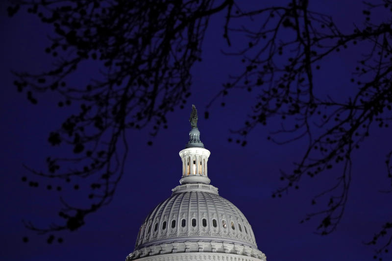 The U.S. Capitol dome is seen in Washington, Monday, Jan. 27, 2020, during the impeachment trial of President Donald Trump on charges of abuse of power and obstruction of Congress. (AP Photo/Patrick Semansky)