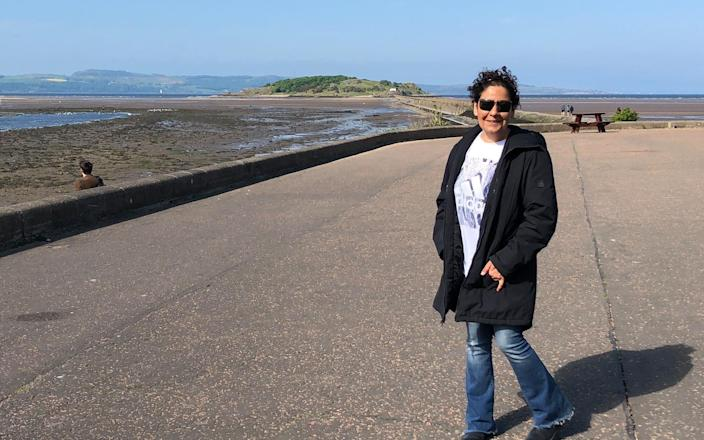 Claudia Uruchurtu on the seafront during a visit to the UK