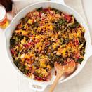 "<p>This hearty one-skillet dinner is loaded with celery, kale, tomatoes and quick-cooking brown rice. It's easy to make the recipe vegetarian by substituting smoked tofu for the turkey. <a href=""http://www.eatingwell.com/recipe/250591/smoked-turkey-kale-rice-bake/"" rel=""nofollow noopener"" target=""_blank"" data-ylk=""slk:View recipe"" class=""link rapid-noclick-resp""> View recipe </a></p>"