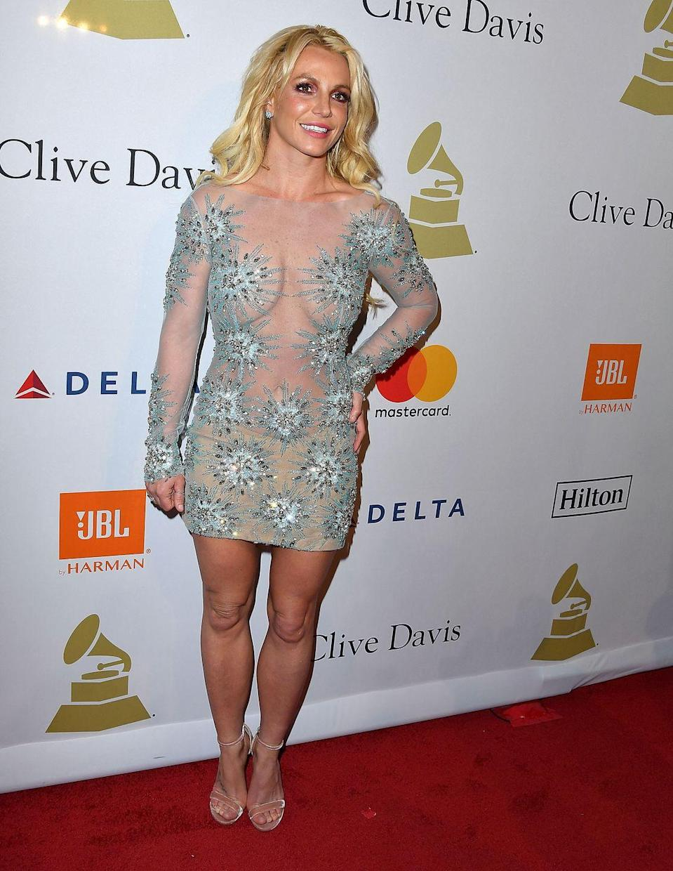 <p>Another red carpet, another see-through mini—this time in the form of a long-sleeve aqua number. </p>