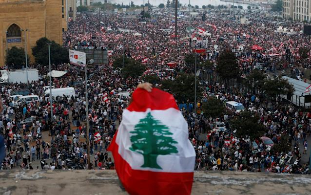 Demonstrators during an anti-government protest in downtown Beirut, Lebanon - REUTERS