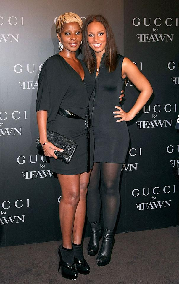 """Also in attendance at the star-studded cocktail party: divas Mary J. Blige, who rocked a black jersey dress, patent leather belt, python clutch, and matching booties, and Alicia Keys, who opted for a sleeveless zip-up, tights, and relaxed locks. Michael Loccisano/<a href=""""http://www.gettyimages.com/"""" target=""""new"""">GettyImages.com</a> - September 16, 2009"""