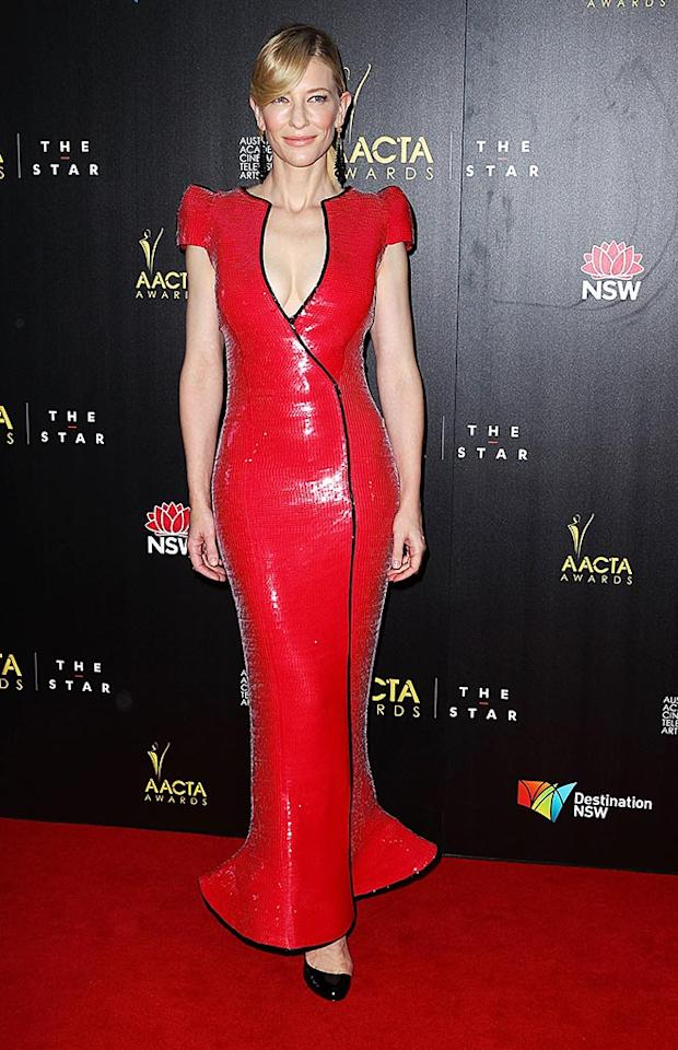 SYDNEY, AUSTRALIA - JANUARY 30:  Cate Blanchett arrives for the 2nd Annual AACTA Awards at The Star  on January 30, 2013 in Sydney, Australia.  (Photo by Don Arnold/WireImage)