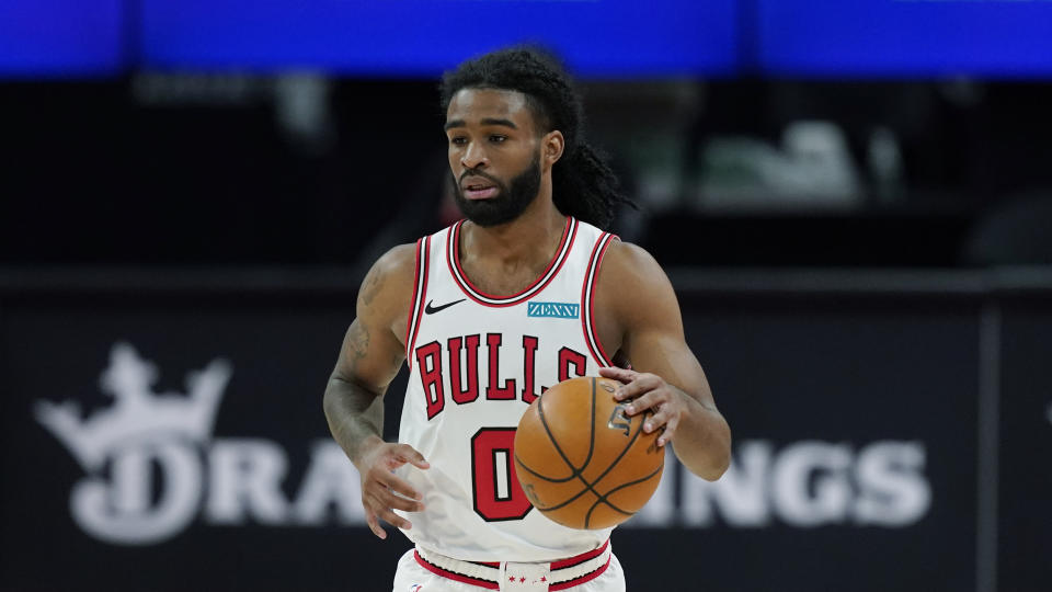 Chicago Bulls guard Coby White plays during the first half of an NBA basketball game, Sunday, May 9, 2021, in Detroit. (AP Photo/Carlos Osorio)