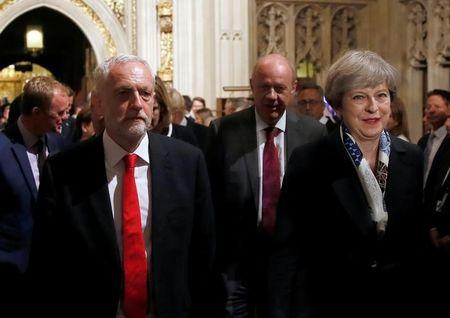 Britain's Labour leader Corbyn overtakes PM May in YouGov poll