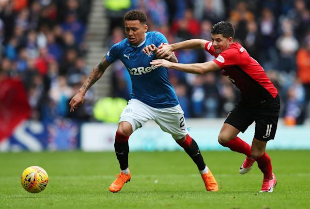 Soccer Football - Scottish Premiership - Rangers vs Kilmarnock - Ibrox, Glasgow, Britain - May 5, 2018 Rangers' James Tavernier in action with Kilmarnock's Jordan Jones REUTERS/Scott Heppell