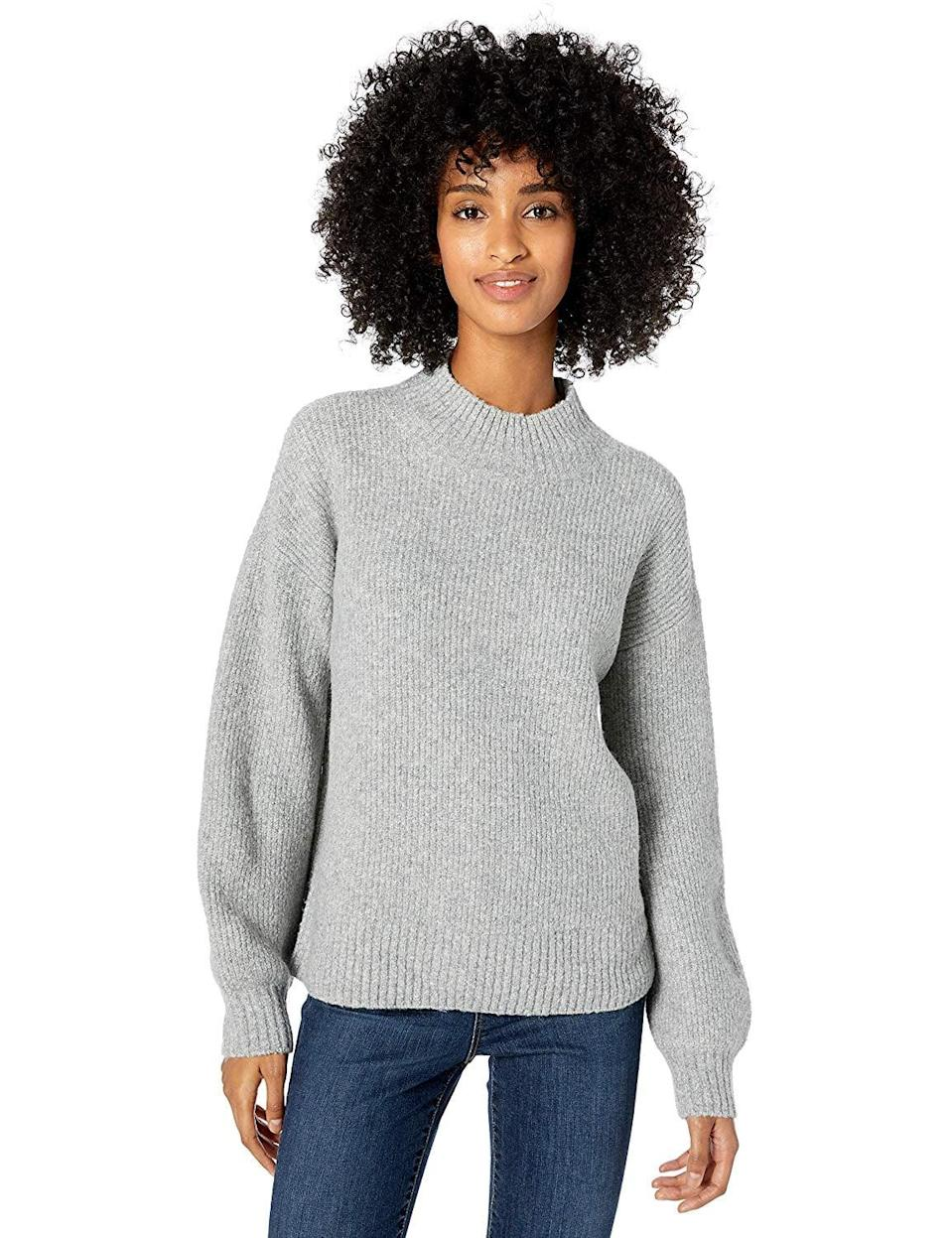 """<p>I just got this <a href=""""https://www.popsugar.com/buy/Goodthreads-Boucle-Shaker-Stitch-Balloon-Sleeve-Sweater-537499?p_name=Goodthreads%20Boucle%20Shaker%20Stitch%20Balloon-Sleeve%20Sweater&retailer=amazon.com&pid=537499&price=32&evar1=fab%3Aus&evar9=47112645&evar98=https%3A%2F%2Fwww.popsugar.com%2Ffashion%2Fphoto-gallery%2F47112645%2Fimage%2F47112914%2FGoodthreads-Boucle-Shaker-Stitch-Balloon-Sleeve-Sweater&list1=shopping%2Camazon%2Ctops%2Cwinter%20fashion&prop13=api&pdata=1"""" class=""""link rapid-noclick-resp"""" rel=""""nofollow noopener"""" target=""""_blank"""" data-ylk=""""slk:Goodthreads Boucle Shaker Stitch Balloon-Sleeve Sweater"""">Goodthreads Boucle Shaker Stitch Balloon-Sleeve Sweater</a> ($32) and love it so much, I want it in more colors. It's soft and not at all itchy - I'll be wearing it 24/7.</p>"""