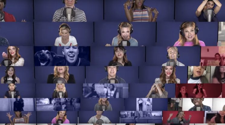 """Celebrities perform """"Fight Song"""" for a video played at the Democratic National Convention. (Screenshot: YouTube/Democratic National Convention)"""