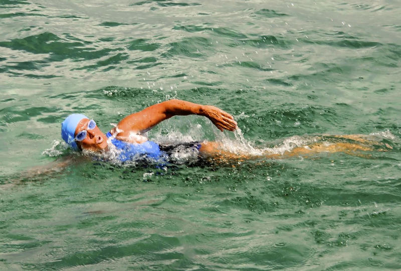 In this photo released by Diana Nyad via the Florida Keys News Bureau, endurance swimmer Diana Nyad swims off Havana, Cuba, Saturday, Aug. 18, 2012, as she begins a more than 100-mile trip across the Florida Straits to the Florida Keys. Nyad, who turns 63 on Aug. 22, is trying to be the first swimmer to cross the Straits without a shark cage. (AP Photo/ Diana Nyad via the Florida Keys News Bureau, Christi Barli)